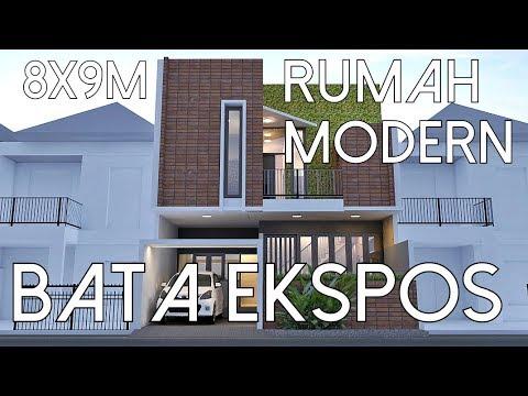 Rumah Modern Bata Ekspos - Lahan 8x9m2 [kode 138] & Rumah Modern Bata Ekspos - Lahan 8x9m2 [kode 138] - YouTube