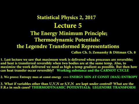 SP2 2017 Lecture 5 The Energy Minimum Principle and Thermodynamic Potentials
