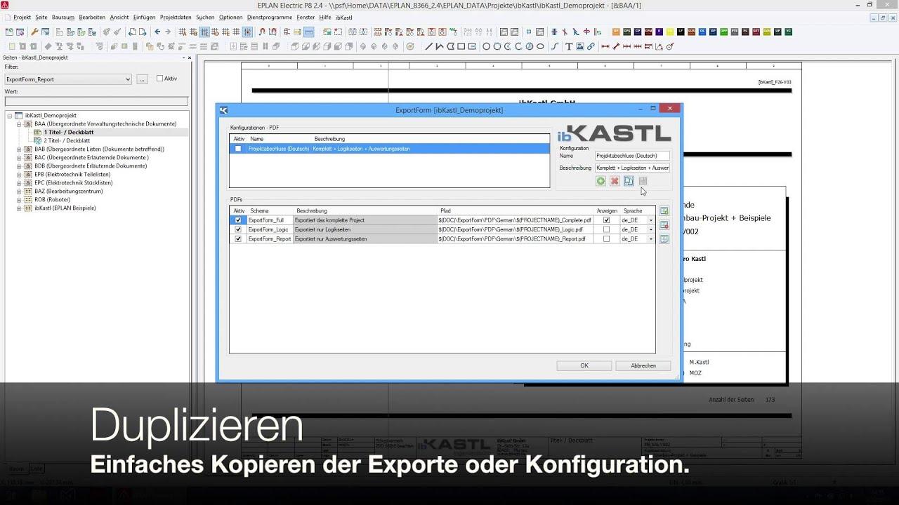 Eplan Automatischer Pdf Export Exportform Youtube