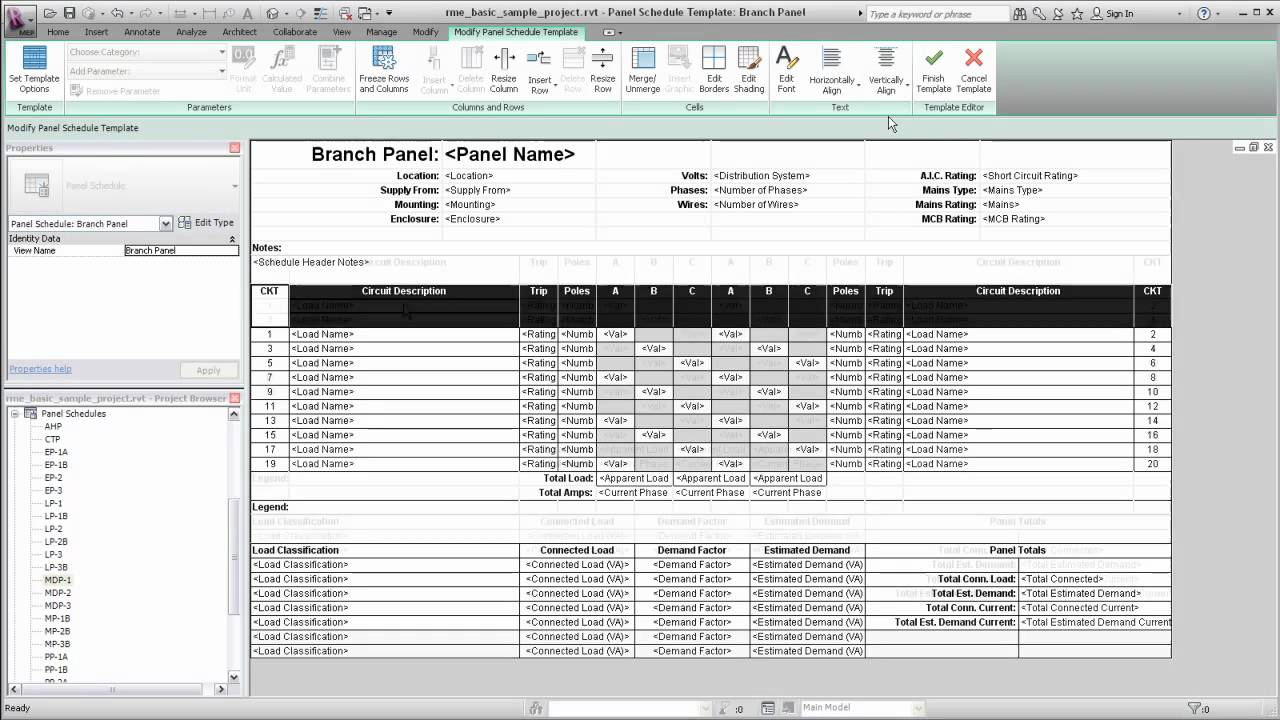 Autodesk Revit MEP: Panel Schedule Templates - YouTube