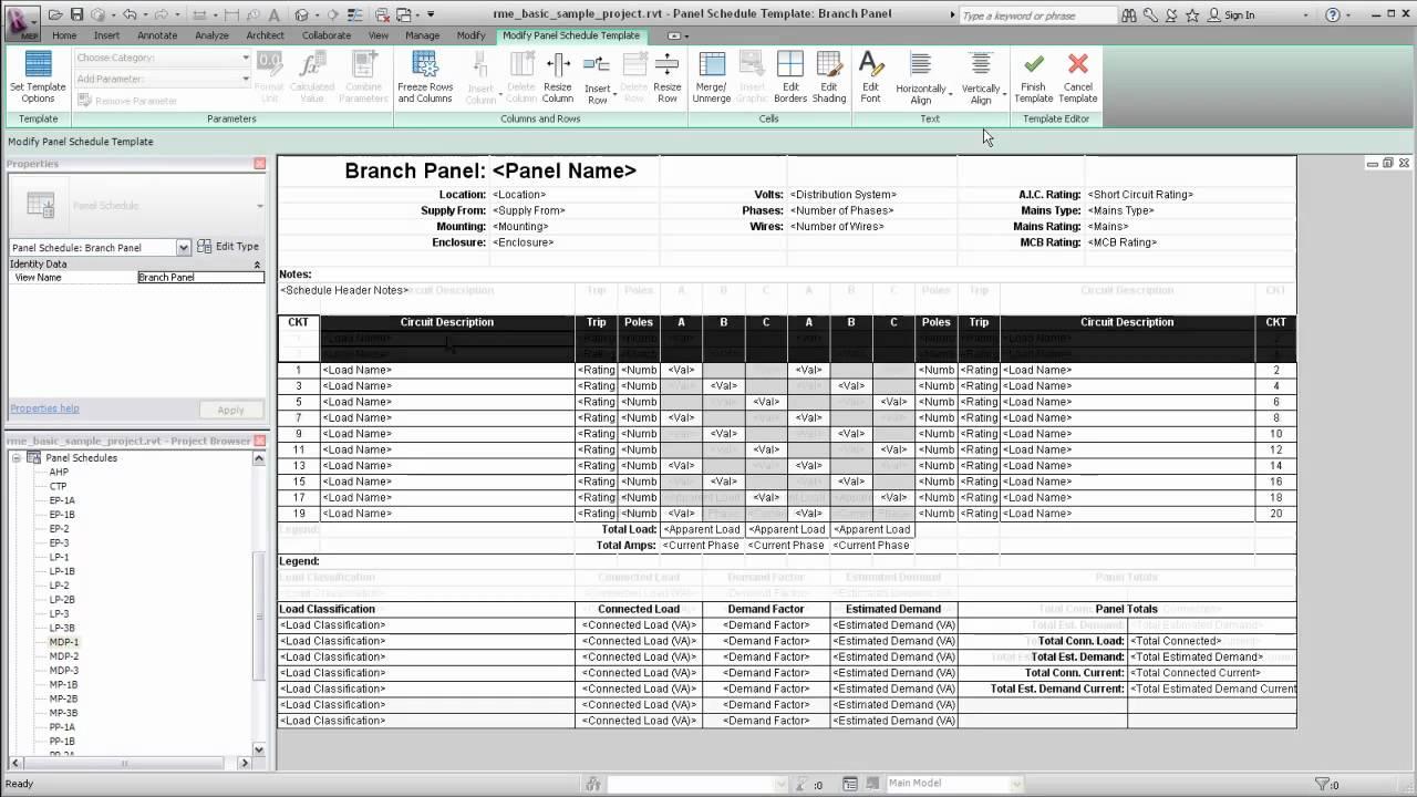 42 circuits, card for pocket on door. Autodesk Revit Mep Panel Schedule Templates Youtube
