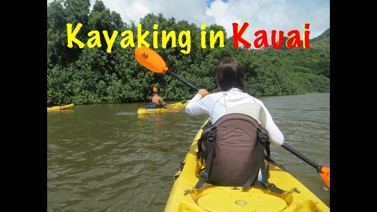Kayaking in the Wailua river, Kauai