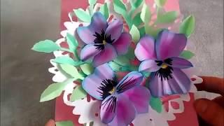 Karte mit Blumen (Stiefmütterchen) selber basteln. Bastelidee zum Muttertag, Vatertag