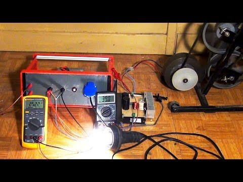 Bicycle Generator:  Electricity from an Excercise Bike +  Buck Boost Converter + UPS