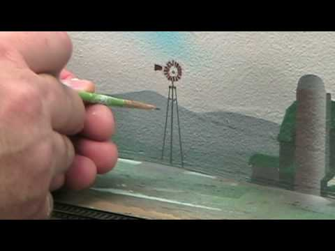 Model Railroad VLog:  I'm finally painting the backdrop – Part 8