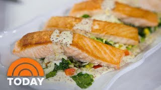Make Giada De Laurentiis' Pan-Roasted Salmon With Summer Orzo Succotash | TODAY