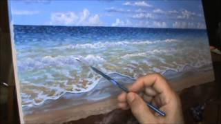 cara melukis sebuah pantai di hawaii menggunakan akrilik di atas kanvas