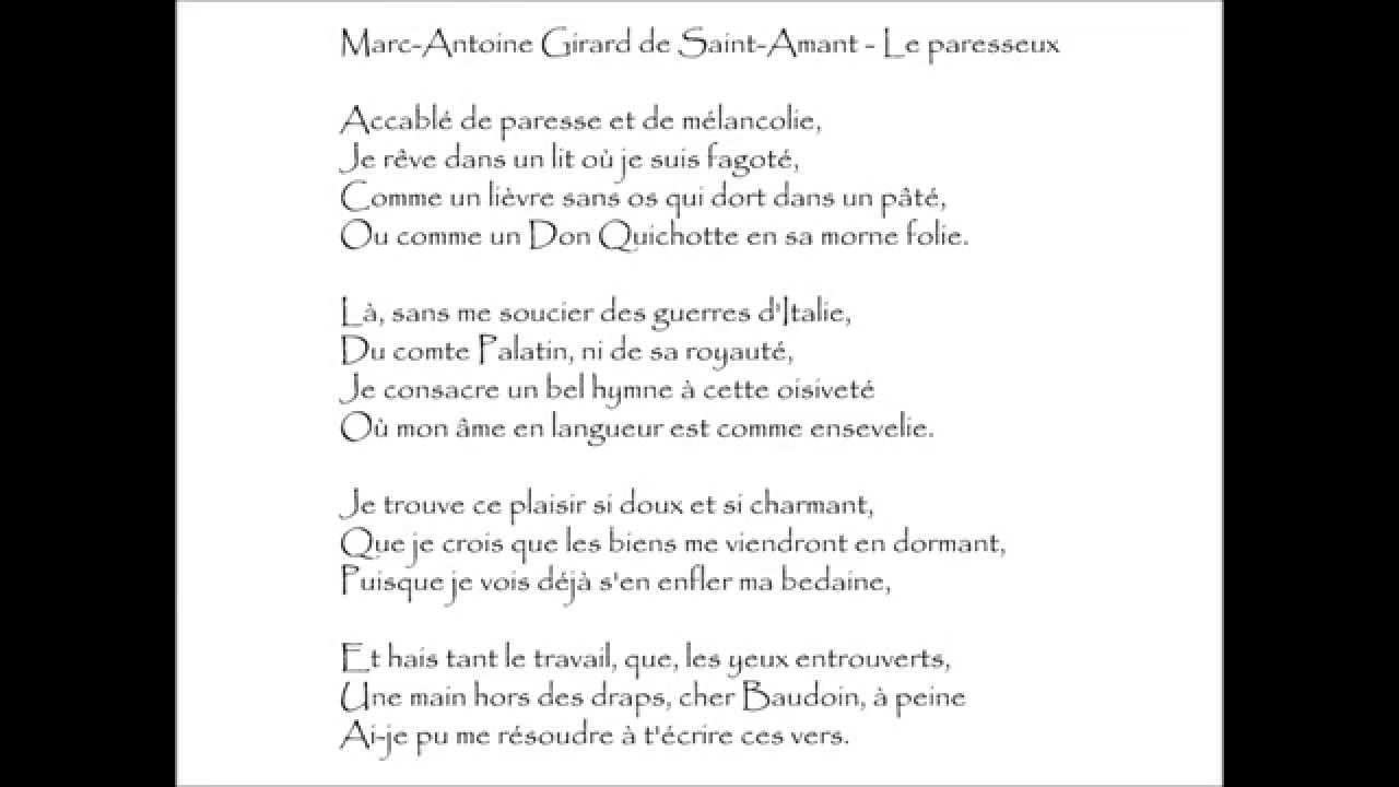 Saint Amant Le Paresseux Accablé De Paresse Audiothèque