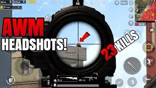 AWM HEADSHOTS! | 23 Kills FPP Solo VS Squad | PUBG Mobile