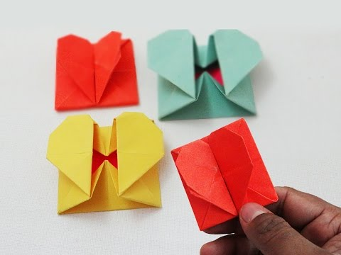 How To Make A Fancy Folding Paper Heart Design Gift Box For