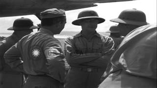 US Admiral Nimitz and US Secretary of Navy James Forrestal talk to Navy officers ...HD Stock Footage