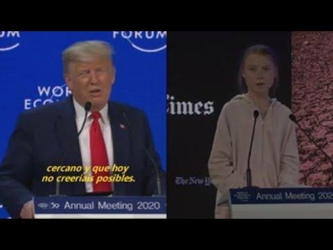 Os ataques cruzados entre  Trump e  Greta protagonizan a xornada en Davos