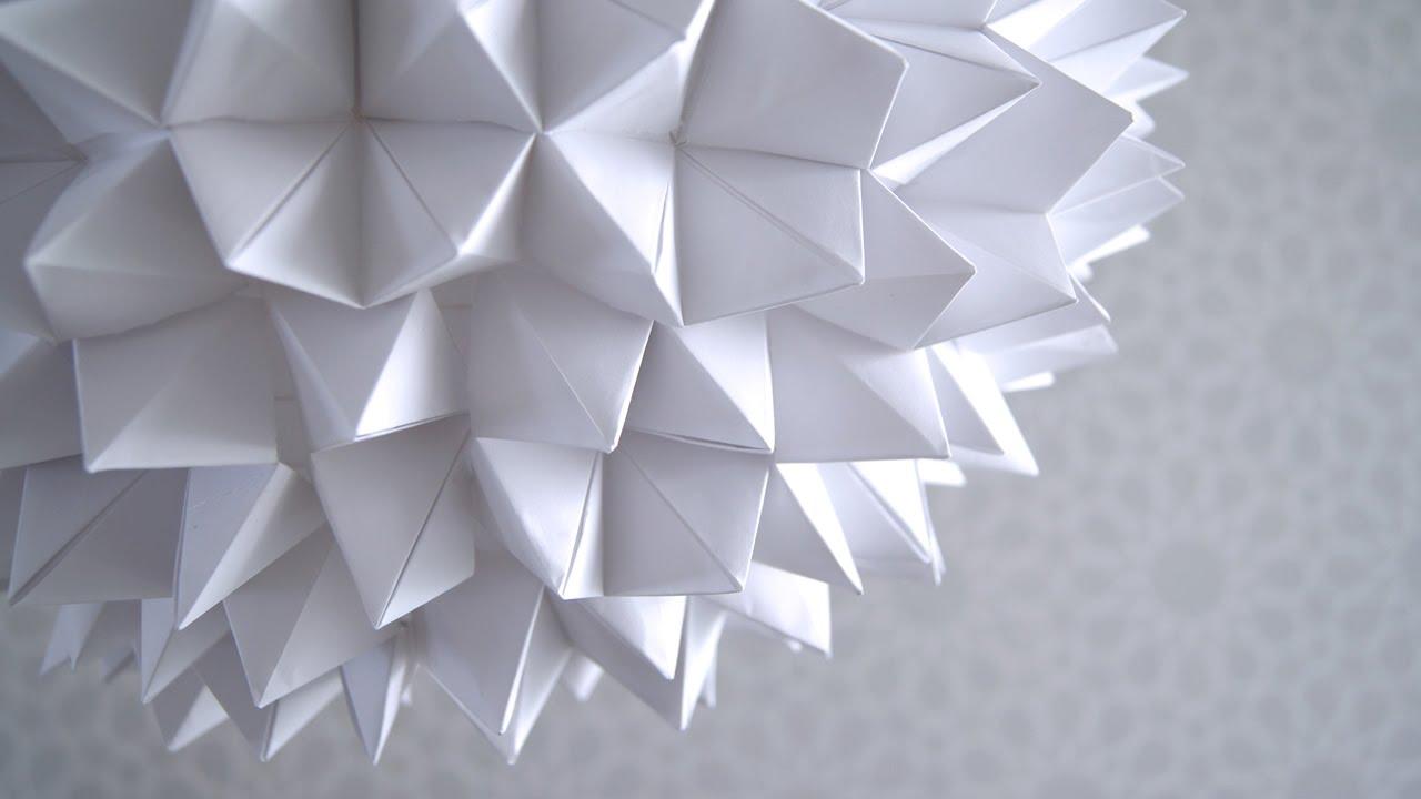Diy c mo hacer una l mpara de origami con papel bond - Como hacer lamparas ...