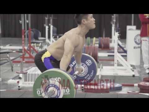 Lu Xiaojun Súper tecnic flash snatch. (Chinese ) weightlifter olímpic shampion