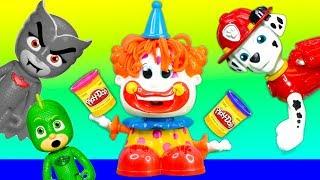 Paw Patrol and PJ Masks have a Pretend Play Doh Clown Head Surprises