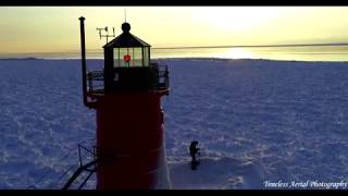 Polar Vortex Frozen 4k Footage Of South Haven Lighthouse Must See! Pure Michigan Travel