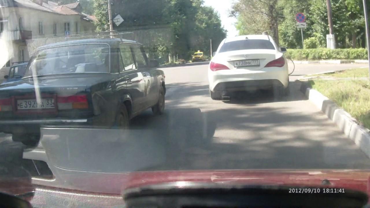 Чуть не сбил пешехода и уехал а738мк777 05.08.2017 ДТП Кольчугино