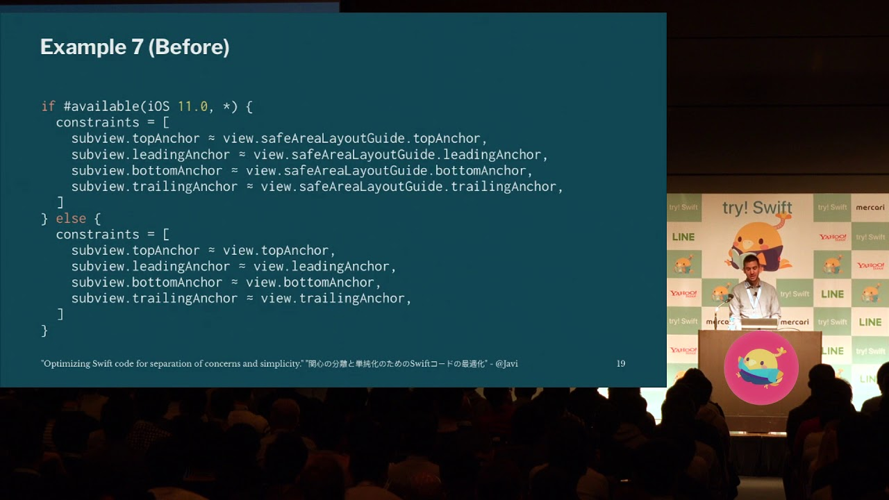 try! Swift Tokyo 2018 - Optimizing Swift code for separation of concerns  and simplicity