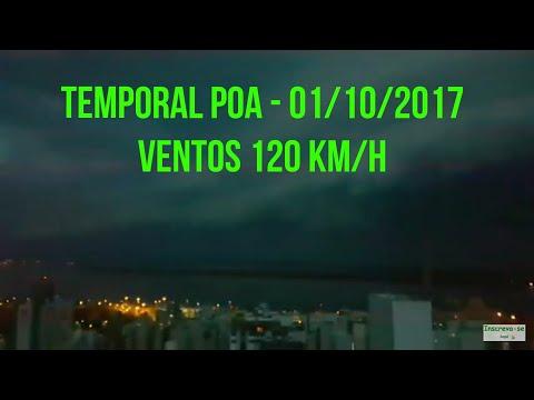 Temporal agora em Porto Alegre com ventos de 120 km/h - 01/10/2017