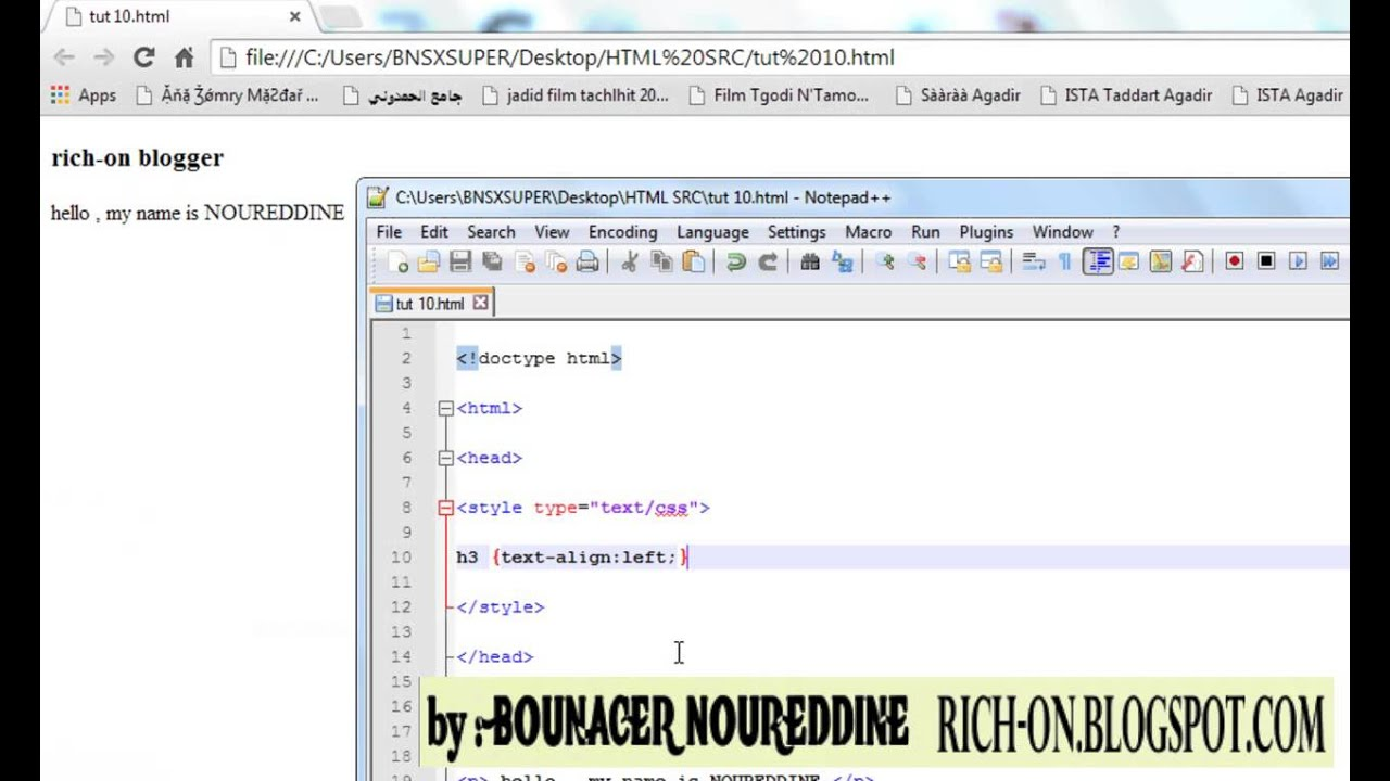HTML CSS Tutorial 10 text align text indent and change ...