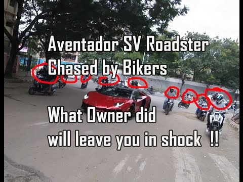 Bikers chase Aventador SV Roadster, What owner does will leave you in Shock !!