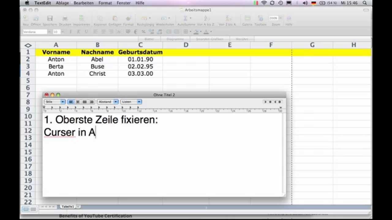 Excel - Spalten und Zeilen fixieren, einfrieren - YouTube