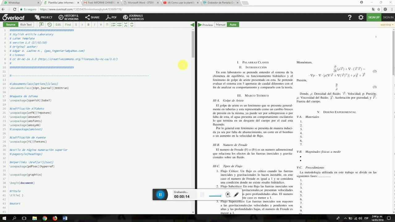 Explicación manejo independiente de la plantilla Latex en Overleaf ...
