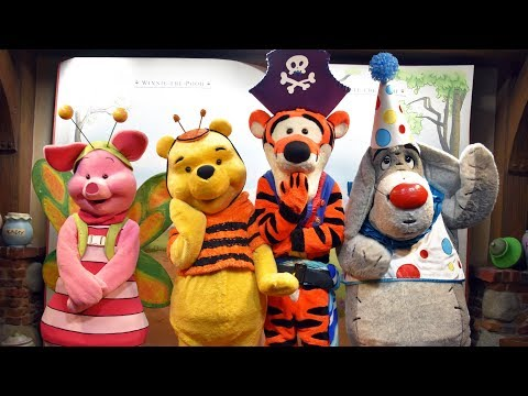 Pooh, Tigger, Eeyore & Piglet in Halloween Costumes Meet Us at Mickey's Not So Scary Halloween Party
