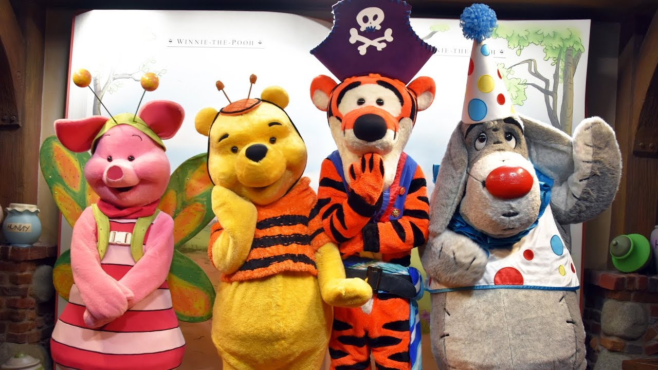 pooh tigger eeyore piglet in halloween costumes meet us at mickeys not so scary halloween party