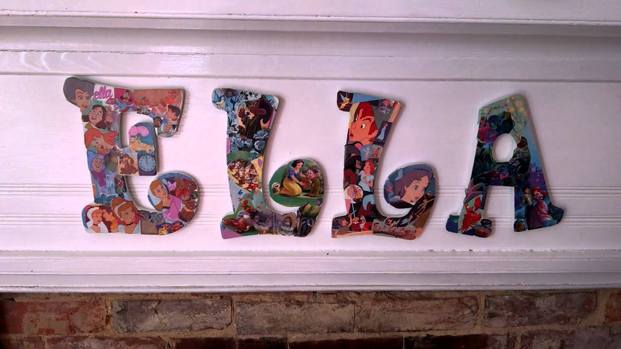 diy how mod podge, wooden letters & disney go together - youtube