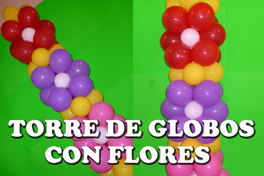 torre de globos con flores flowers in a balloon tower youtube - Como Hacer Flores Con Globos