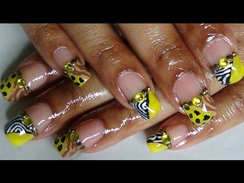 Yellow African Jungle Nail Design - YouTube