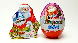 Kinder Christmas Surprise Egg and Santa Claus with Toys unboxing