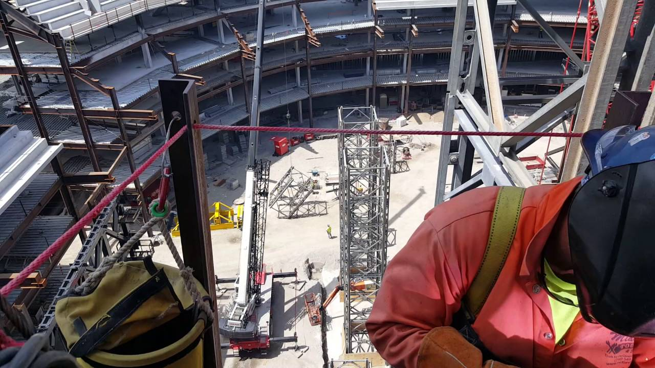 Welding and other work at the Little Caesars Arena, Detroit