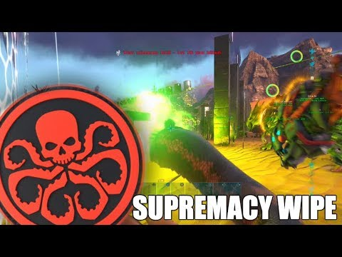 HYDRA VS SUPREMACY - ARK MEGA TRIBE SERVER WIPE RAID - SUPREMACY WIPE PART 2