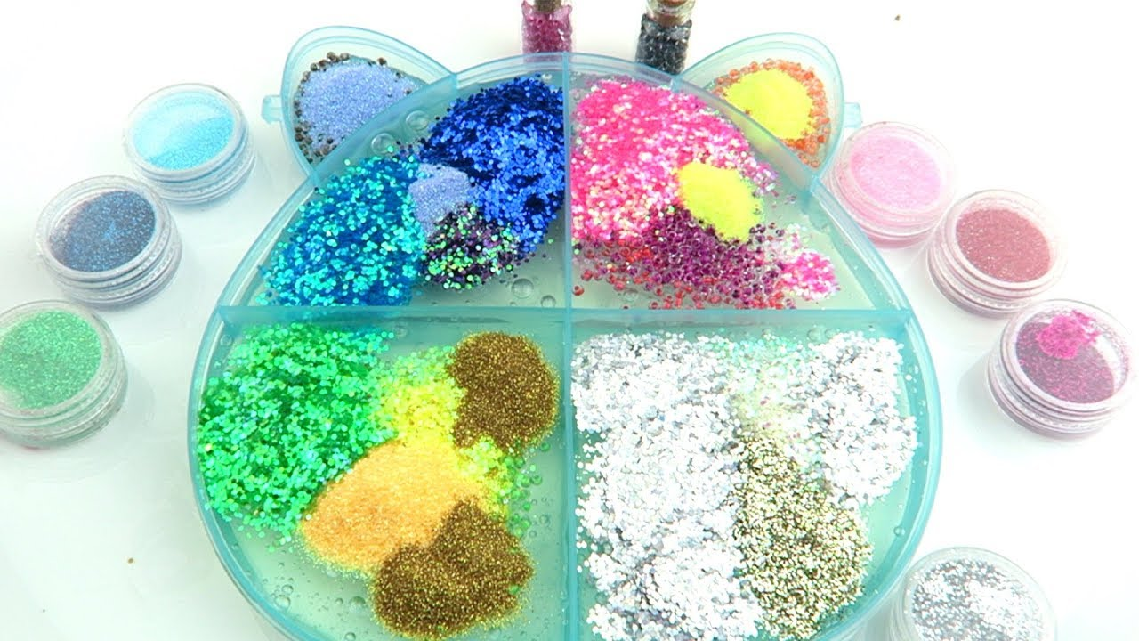 Slime Palette Mixing - Mixing Glitter and Beads into Clear Slime!