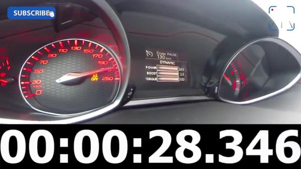 2016 peugeot 308 gti 270 fast! 0-248 km/h autobahn acceleration