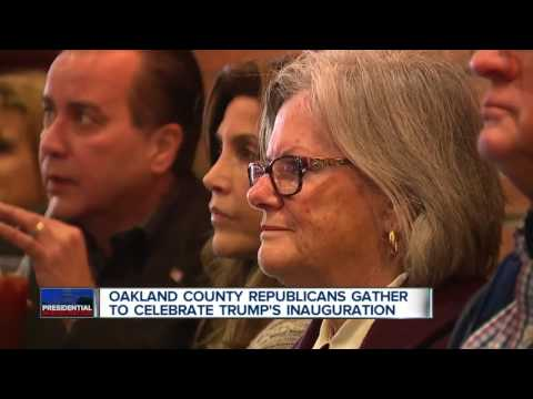 Oakland County Republicans gather to watch President Trump's inauguration