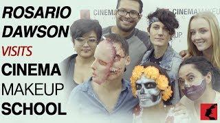 Rosario Dawson visits Cinema Makeup School