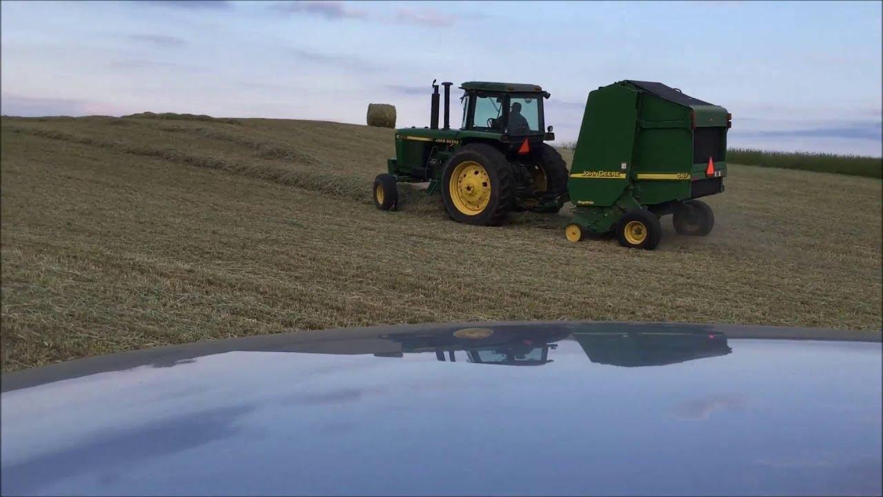 Baling hay  John Deere 4055 and 567 baler