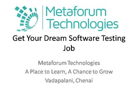 Get Your Dream Job In Software Testing - Video Blog - Metaforum Technologies