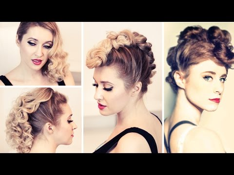 Rockstar hair tutorial: Kiesza'a faux hawk hairstyle, retro curls, punk updo for medium long hair