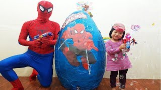 Bóc Trứng Người Nhện Khổng Lồ, GIANT Surprise EGG Spiderman Opening, Surprise TOYS, BaBiBum