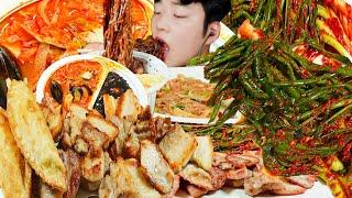 [ASMR] 매~콤한! 파김치, 짬뽕, 삼겹살, 잡채밥…