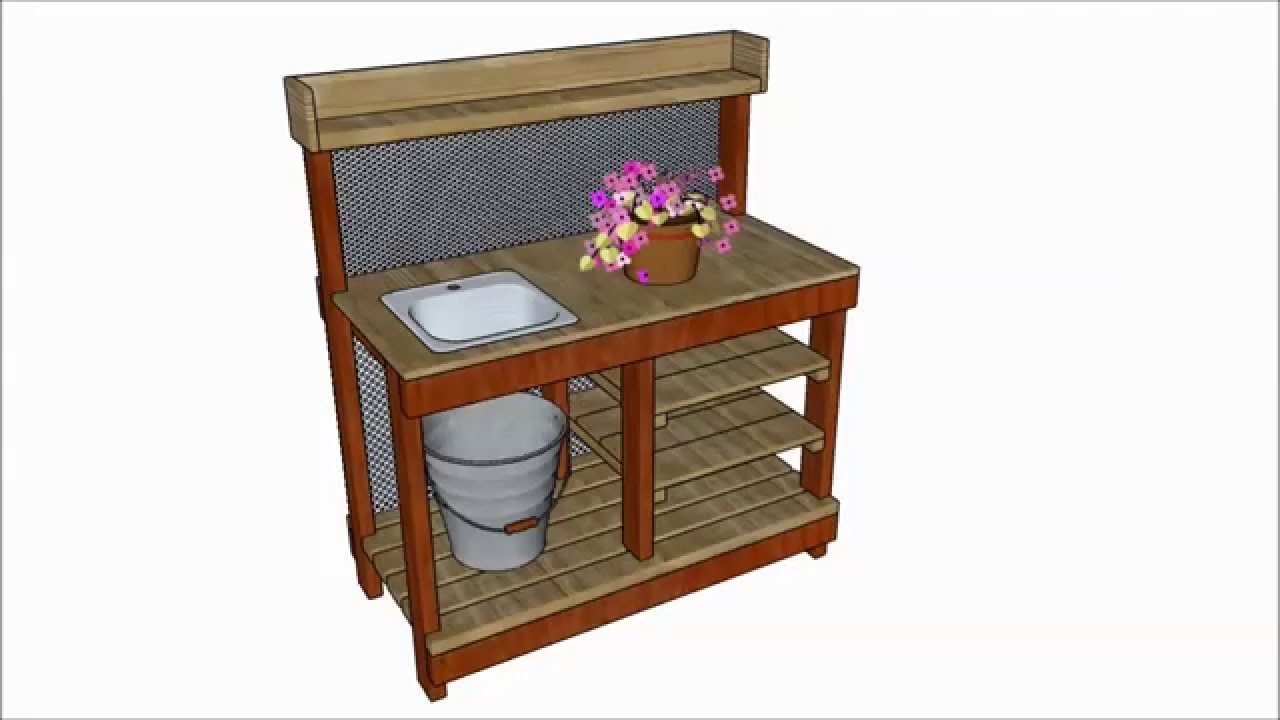 Potting bench with sink plans - YouTube