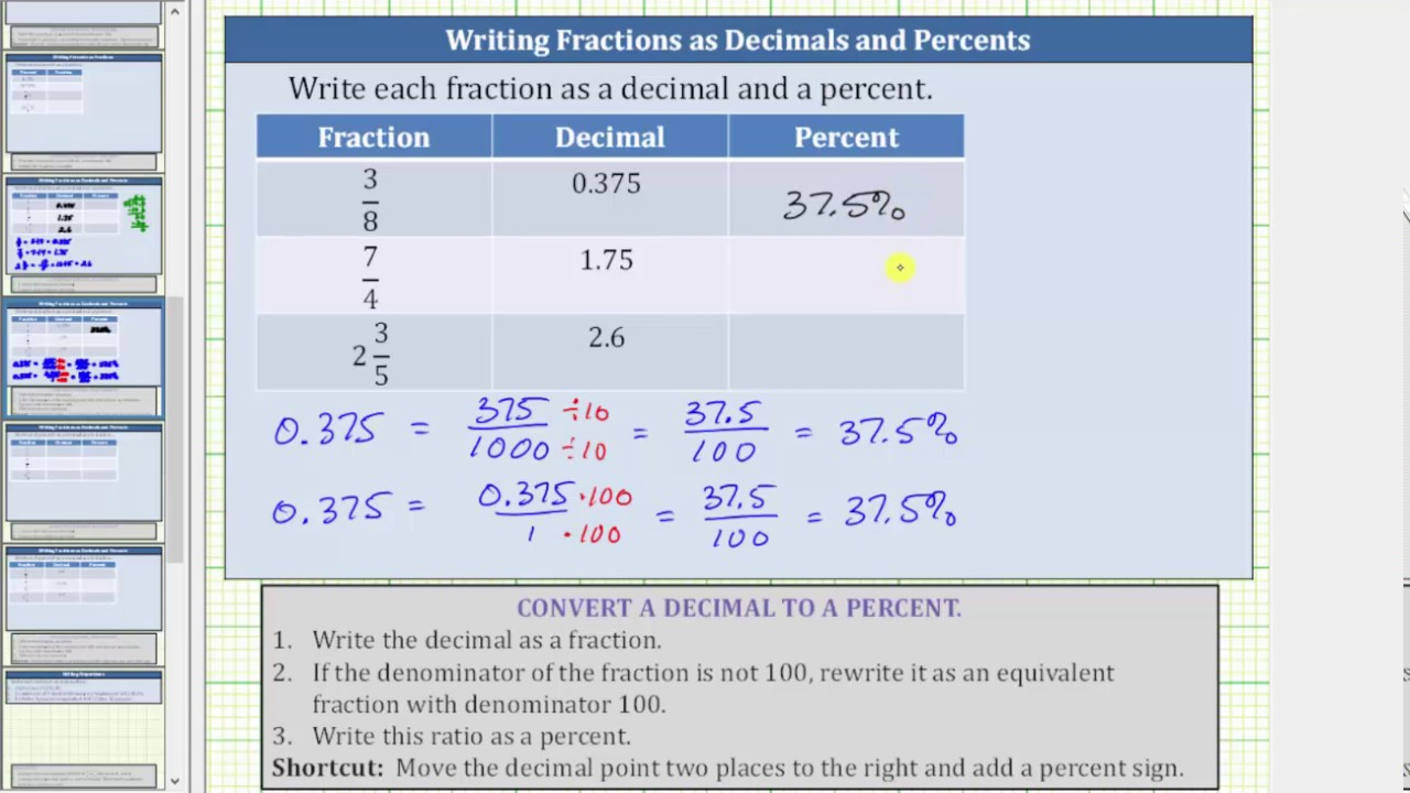 Convert a Fractions to Decimals and Decimals to Percents (3/8, 7/4 ...