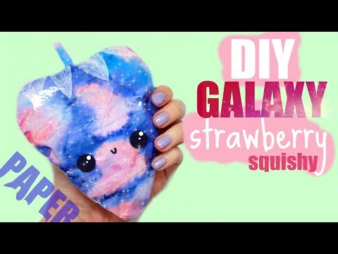 PAPER SQUISHY TUTORIAL, GALAXY STRAWBERRY | How to make a squishy without foam #16