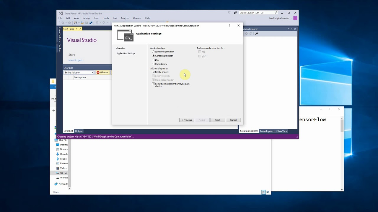 2- 2018- How to setup visual studio project for using opencv 3 4, Caffe,  TensorFlow