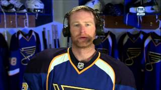 Jordan Leopold interview after 1st April 5 2013 Columbus Blue Jackets vs St. Louis Blues NHL Hockey