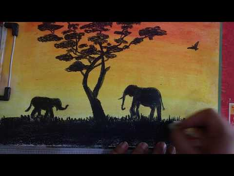 How to paint beautiful Sun Set landscape using Oil Pastel: Silhouette Part 1